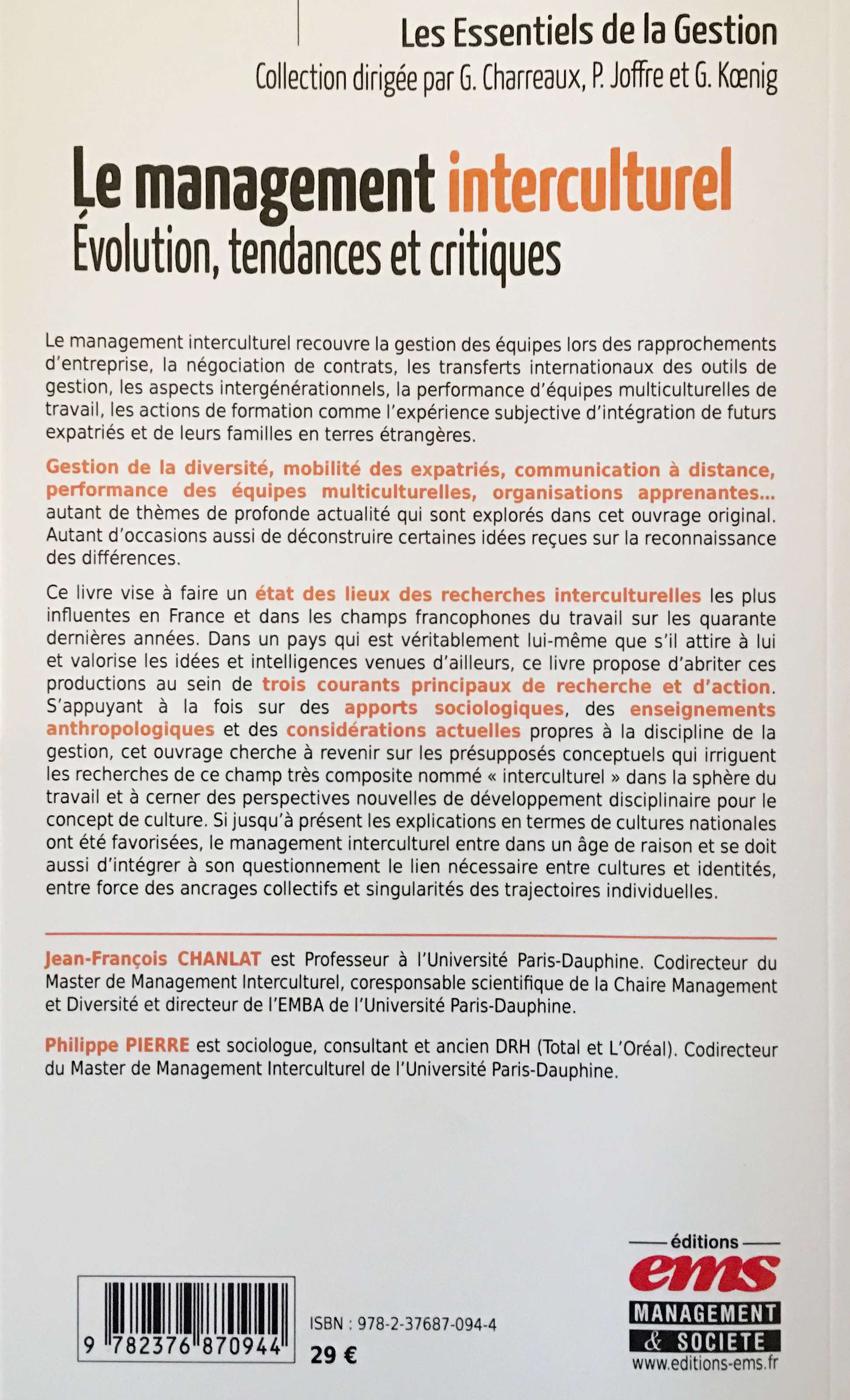 Le management interculturel 4ème de couverture