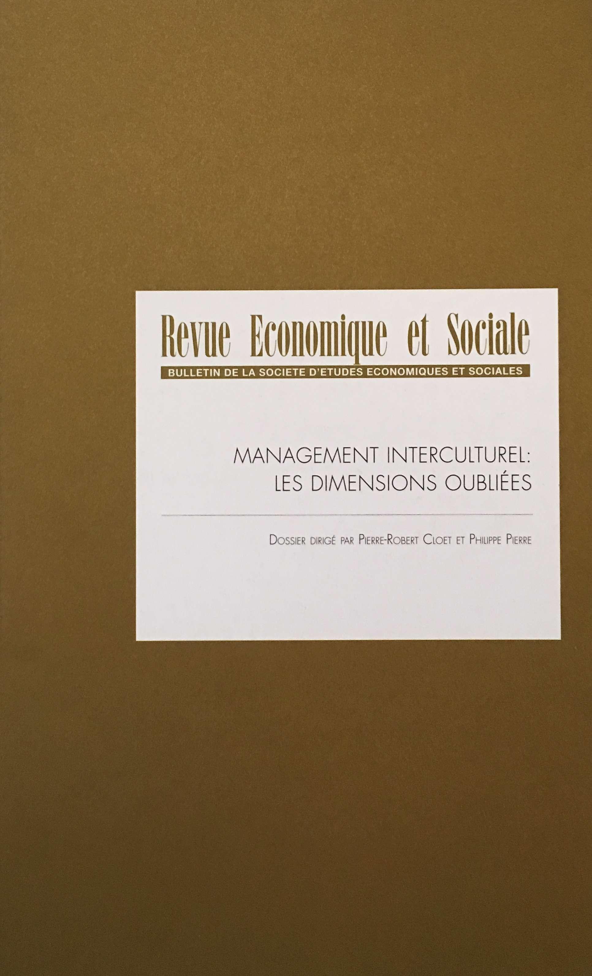 Revue Economique et Sociale numéro 75 1ère de couverture