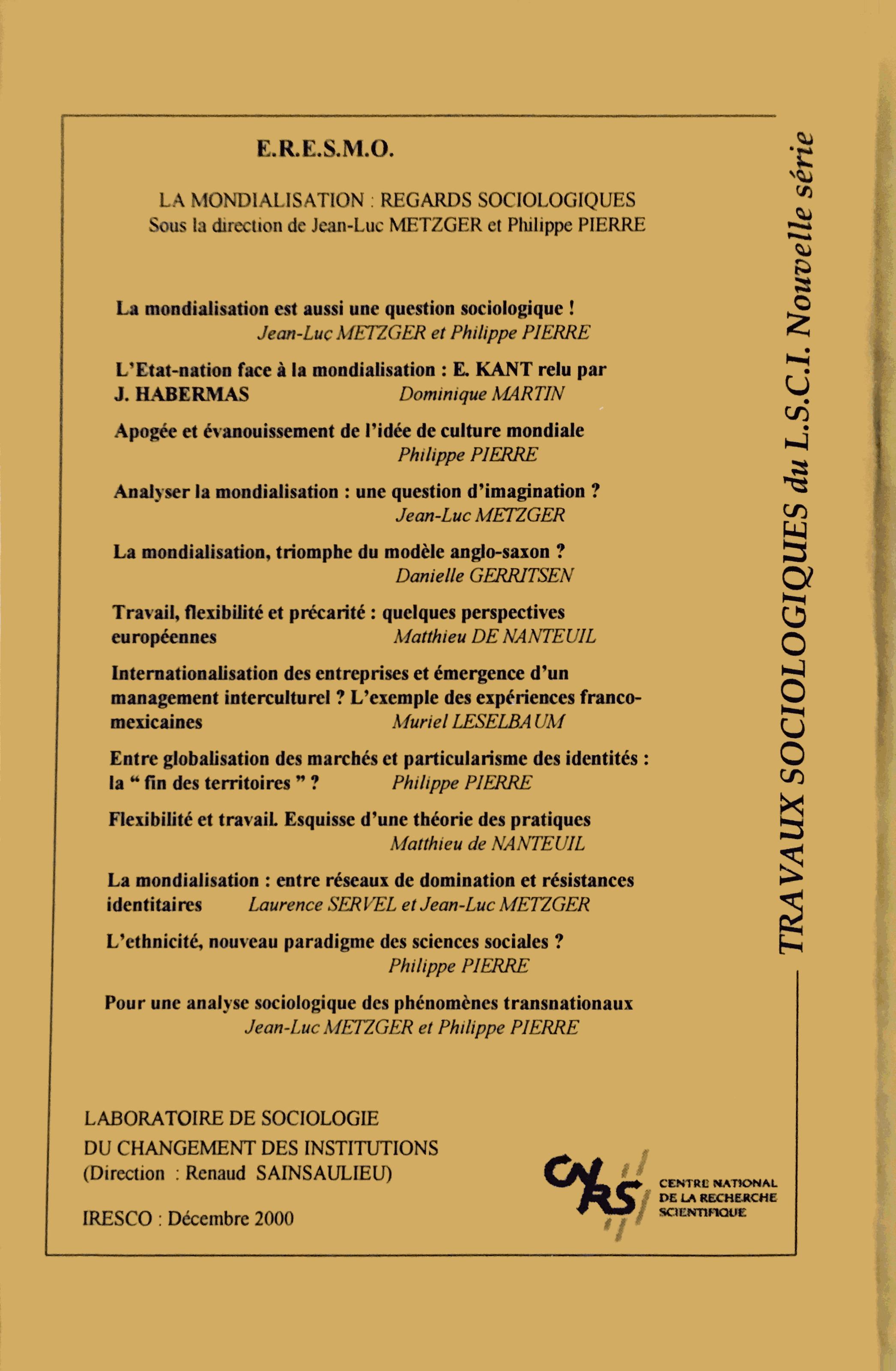 Description Mondialisation regards sociologiques